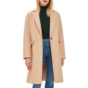 "TopShop ""Lily"" Longline Midi Coat Camel  Knit 8"